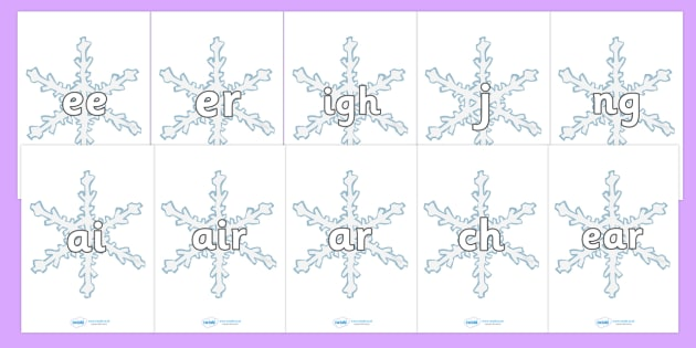 Phase 3 Phonemes on Snowflakes - Snowflake, winter, Phonemes, phoneme, Phase 3, Phase three, Foundation, Literacy, Letters and Sounds, Alphabet, A-Z letters, Alphabet flashcards, letters and sounds, DfES, display