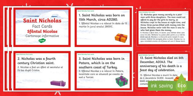 Saint Nicholas Fact Cards English/Romanian - Christmas, Nativity, Jesus, xmas, Xmas, Father Christmas, Santa, Saint Nicholas, patron saint of sai