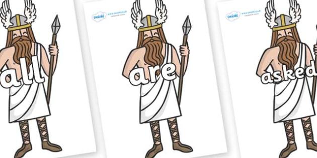 Tricky Words on Viking Gods - Tricky words, DfES Letters and Sounds, Letters and sounds, display, words