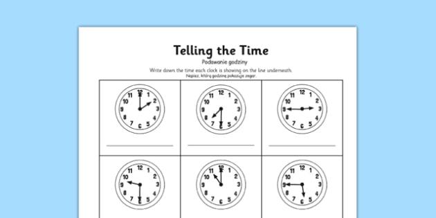 O'clock, Half Past and Quarter To Times Activity Sheet Polish Translation - polish, o'clock, half past, quarter to, times, activity, worksheet