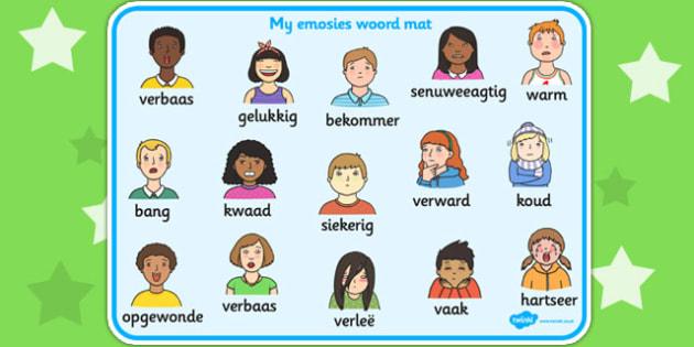 Afrikaans My Emotions Word Mat - afrikaans, emotions, word mat
