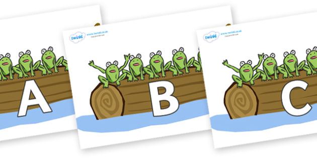 A-Z Alphabet on Little Speckled Frogs - A-Z, A4, display, Alphabet frieze, Display letters, Letter posters, A-Z letters, Alphabet flashcards