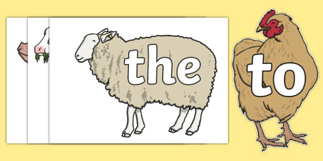Phase 2 Tricky Words on Farm Animals - phase 2, tricky words, farm animals, farm, animals, images, display