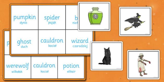 Halloween Bingo Polish Translation - polish, halloween, bingo, game, activity, class, festival, celebration