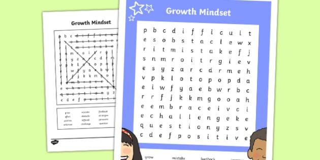Growth Mindset Upper School Vocabulary Word Search-Australia