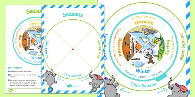 Seasons Sequencing Wheel Display Calendar