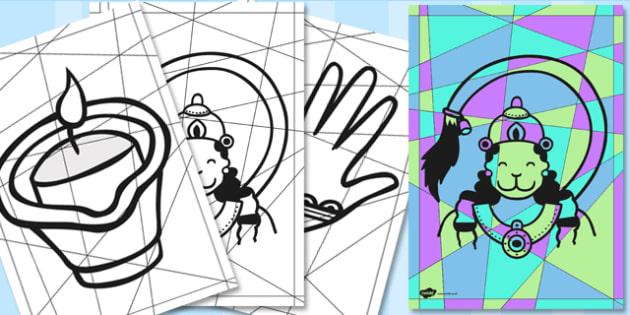 Modern Art Diwali Colouring Pages - art, design, hinduism, RE