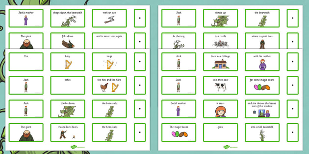 Jack and the Beanstalk Sentence Building Cards - building, cards