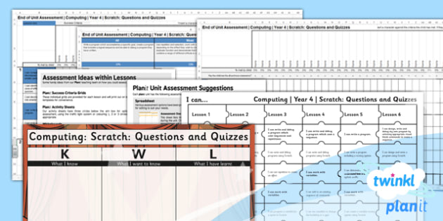 PlanIt - Computing Year 4 - Scratch Questions and Quizzes Unit Assessment Pack - planit, computing, year 4, assessment, pack