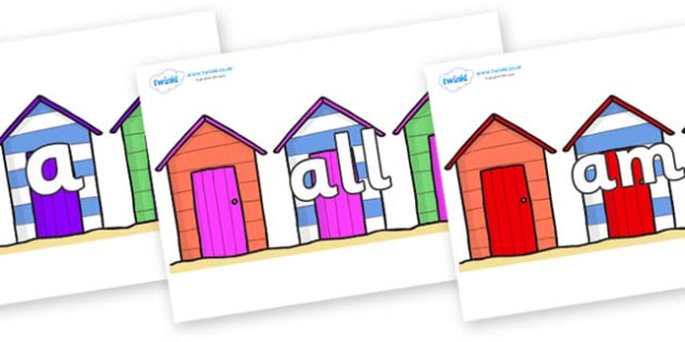 Foundation Stage 2 Keywords on Beach Huts - FS2, CLL, keywords, Communication language and literacy,  Display, Key words, high frequency words, foundation stage literacy, DfES Letters and Sounds, Letters and Sounds, spelling