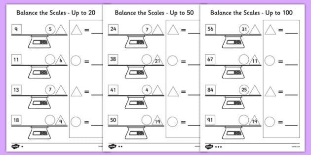 Balance the Scale Differentiated Worksheets Main - measure, weigh