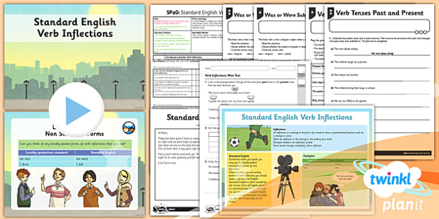 PlanIt Y4 SPaG Lesson Pack: Standard English Verb Inflections - GPS, past tense, present tense, local spoken, was and were