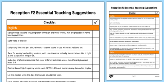 Reception F2 Essential Teaching Suggestions Checklist
