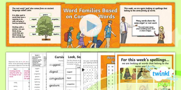 PlanIt Y6 Term 1B W5: Word Families Based on Common Words Spelling Pack - Spelling Packs Y6, Year 6, statutory, weekly, weeks, lists, test, SPaG, GPS, word families, root wor