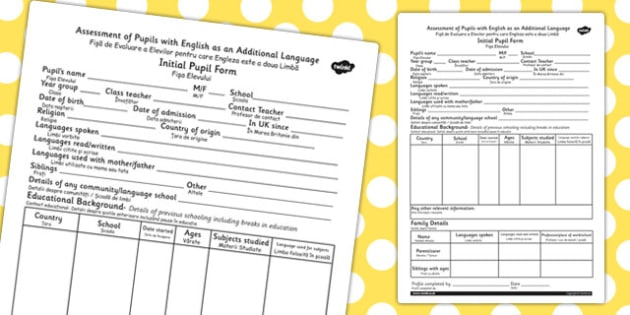 EAL Initial Pupil Profile Form EAL Romanian Translation - romania