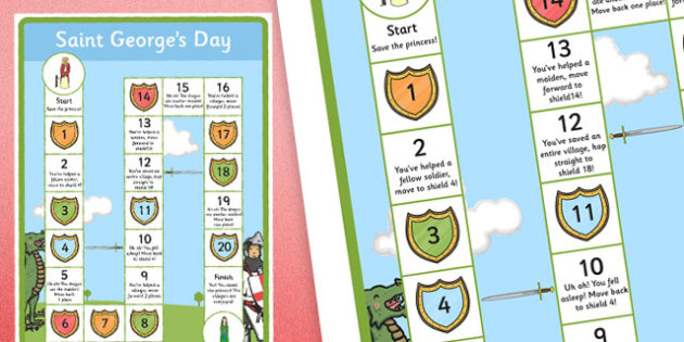 St. George's Day Board Game - george, saint, event, england, english, patron, festival, flag, cross, legend, story, hero, knight, armour, dragon, game, play