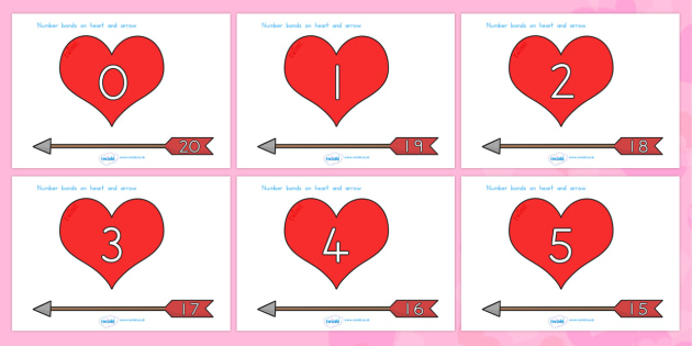 Valentine's Day Number Bonds To 20 Arrows and Hearts - valentines