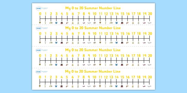 Summer Number Line (0-20) - Summer, season, Maths, Math, numberline, numberline display, holidays, beach, sun, flowers, ice cream, sea, seaside