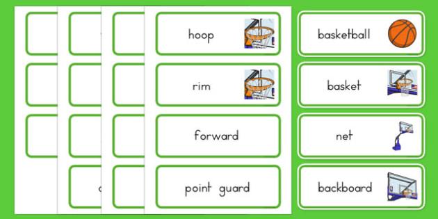 Basketball Vocabulary Cards - usa, nba, basketball, national basketball association, vocabulary cards