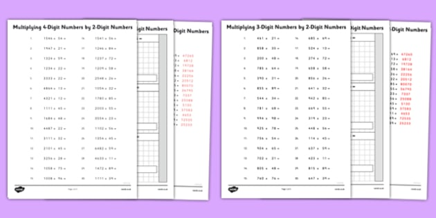 Multiplying 4 and 3-Digit Numbers by 2-Digit Numbers Activity Sheet Pack - multiplying, 4 digit, 3 digit, 2 digit, numbers, activity, worksheet