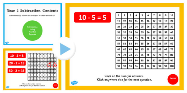 Y2 Subtract 2 Numbers Ones Pair Bonds 10 Squares Teach PowerPoint