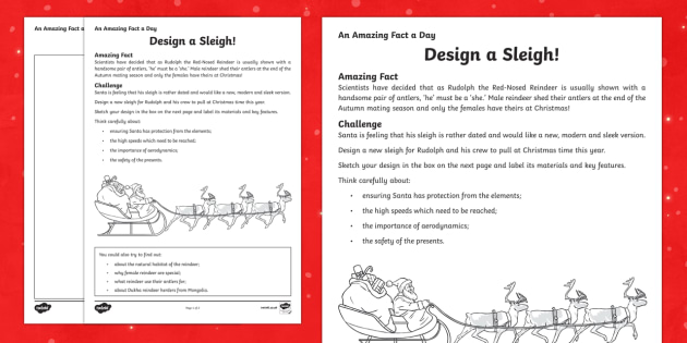 Design a Sleigh Activity Sheet - Amazing Fact Of The Day, activity sheets, powerpoint, starter, morning activity, December, Santa, Sl