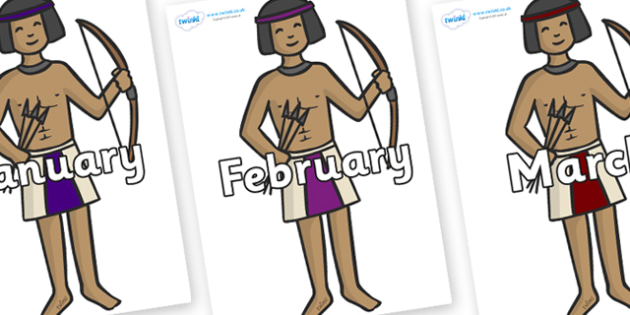 Months of the Year on Egyptian Archers - Months of the Year, Months poster, Months display, display, poster, frieze, Months, month, January, February, March, April, May, June, July, August, September