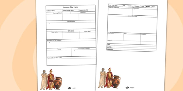 Ancient Greeks Editable Individual Lesson Plan Template - plan