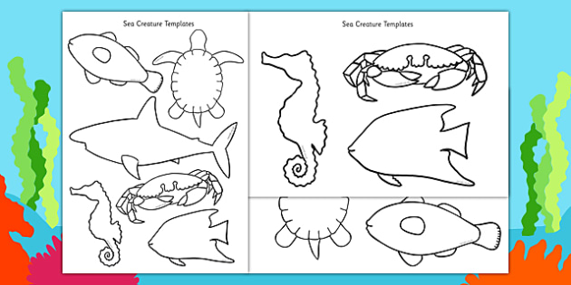Cut-Out Sea Creature Templates (Under the Sea) - creatures, under the sea, template