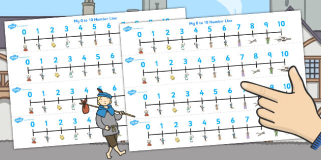 Dick Whittington Number Lines 0 10 - count, counting, maths