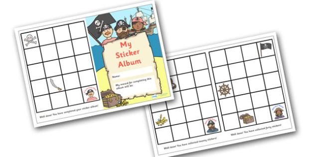 Sticker Reward Album (Pirate Themed) - reward sticker album, pirate themed, reward, sticker, album, stickers, award, chart, sticker album, complete, pirates, theme, pirate, themed