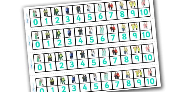 People Who Help Us Number Track (1-10) - Maths, Math, People Who Help Us, number track, numbertrack, Counting, Numberline, Number line, Counting on, Counting back, Doctor, Nurse, Teacher, Police, Fire fighter, Paramedic, Builder, Caretaker, Lollipop,