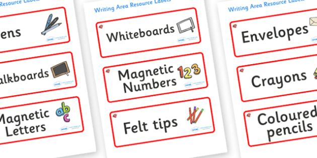 Ruby Red Themed Editable Writing Area Resource Labels - Themed writing resource labels, literacy area labels, writing area resources, Label template, Resource Label, Name Labels, Editable Labels, Drawer Labels, KS1 Labels, Foundation Labels, Foundati