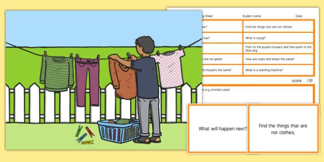 Washing Day Blanks Level 3 Questions - receptive language, expressive language, verbal reasoning, language delay, language disorder, comprehension, autism