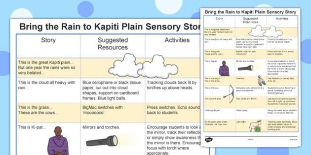 Bringing the Rain to Kapiti Plain Sensory Story - bringing the rain to kapiti, bringing the rain to kapiti sensory plan, sensory lesson plan, lesson ideas