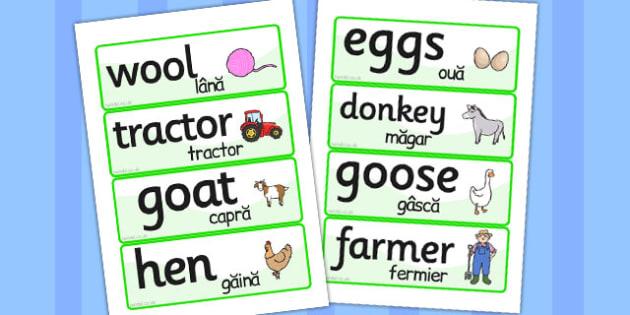 On the Farm Word Cards Romanian Translation - romanian, farm