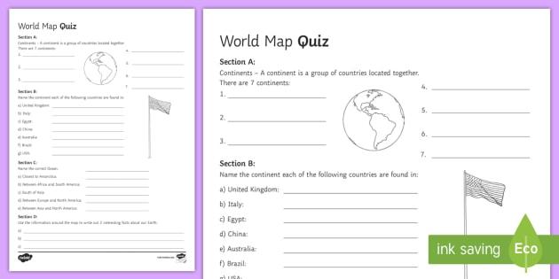 World Map Quiz - Geography, ks3, maps, quiz, activity, game,  fun, progress, world, locate