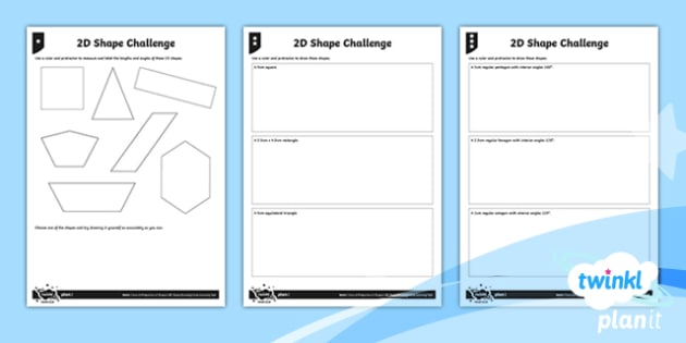 PlanIt Y6 Properties of Shape 2D Shape Drawing Home Learning Tasks - Properties of Shape, geometry, 2ds, angles, measuring, ruler, rectangle, square, equilateral, hexago