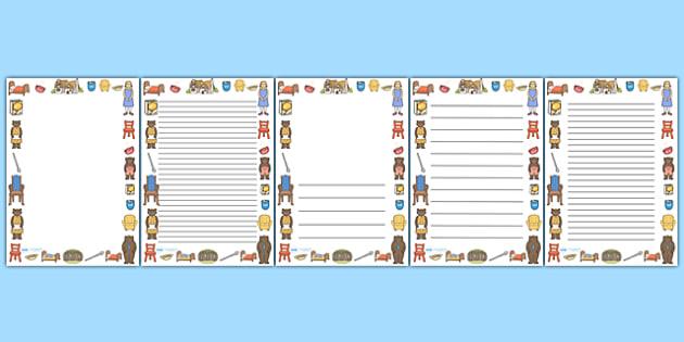 Goldilocks and the Three Bears Full Page Borders - page border, border, frame, writing frame, goldilocks and the three bears, goldilocks writing frames, goldilocks page borders, writing template, writing aid, writing, A4 page, page edge, writing acti
