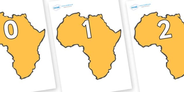 Numbers 0-50 on Africa - 0-50, foundation stage numeracy, Number recognition, Number flashcards, counting, number frieze, Display numbers, number posters