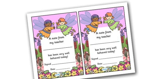 Note From My Teacher Well Behaved This Week (Fairy Themed) - note from teacher well behaved this week, well behaved this week, note from teacher, notes, praise, comment, note, teacher, teacher's, parents, well behaved, this week, fairy themed, fairy,