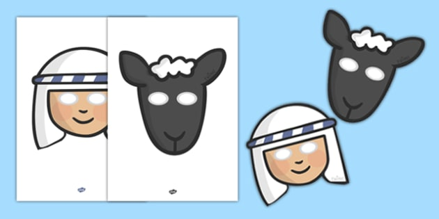 The Lost Sheep Story Role Play Masks - the Lost Sheep, sheep, shepherd, lost sheep, role play mask, role play, masks, 100, 99, search, searching, looking for, safe, carried home, bible story, bible, party, happy