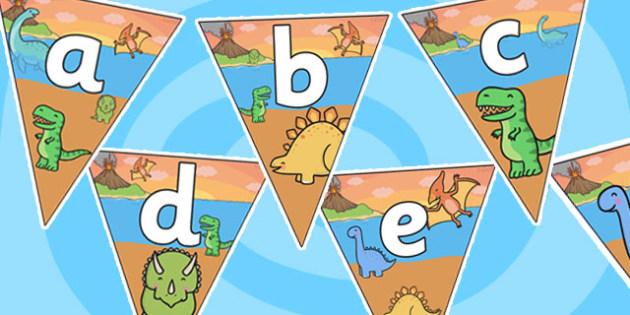 Dinosaur Themed Alphabet Display Bunting - dinosaurs, dinosaur bunting, dinosaur alphabet bunting, dinosaur themed alphabet bunting, alphabet bunting, alphabet buntin