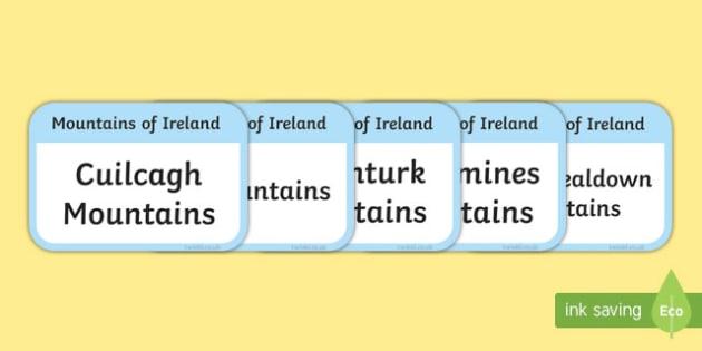 Mountains of Ireland Flashcards-Irish