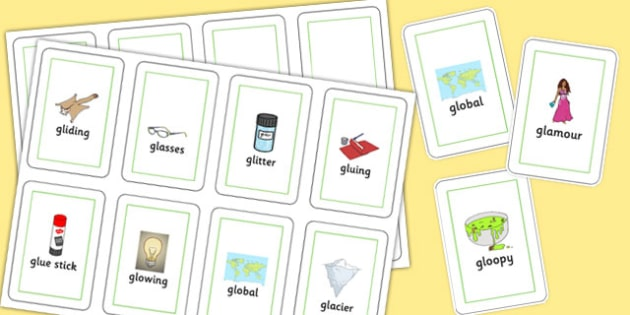 Two Syllable GL Flash Cards - gl sound, sound, gl, flash cards, flash, cards, two syllable