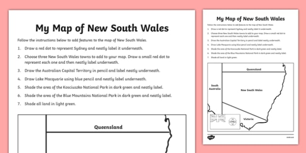 My Map of New South Wales Activity Sheet - australia, Geography, map, mapping, New South Wales, Sydney, shading, labelling, states, territories, Australia, worksheet