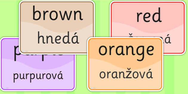 Colour Signs EAL Slovak Version - EAL display, lanuages, colour