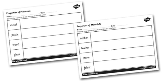 Properties of Materials Worksheet - materials, materials worksheet, properties of materials, metal, plastic, wood, glass, rubber, leather, stone, fabric