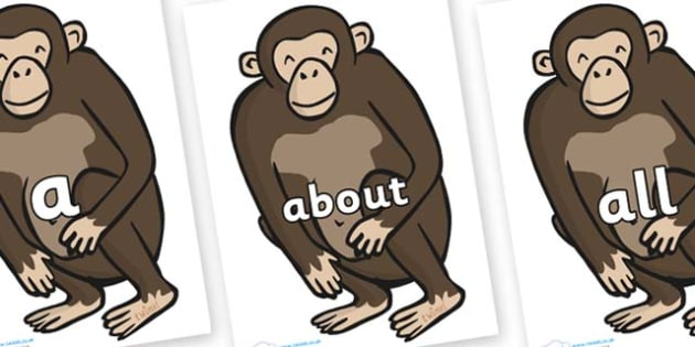 100 High Frequency Words on Chimps - High frequency words, hfw, DfES Letters and Sounds, Letters and Sounds, display words
