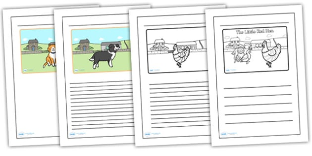 The Little Red Hen Black and White Lined Writing Frames - the little red hen, black, white, writing frames, lined writing frames, frames for writing,